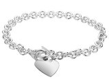 Sterling Silver Toggle Heart Tag Charm Bracelet