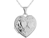 Heart Locket Necklace in 14K White Gold with Chain