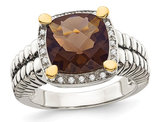 3.60 Carat (ctw) Smokey Quartz Cable Ring in Sterling Silver with 14K Gold Accents