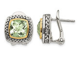 Green Amethyst 3.90 Carat (ctw) Earrings in Sterling Silver with 14K Gold Accents