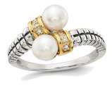 Cultured Freshwater Pearl Ring in Sterling Silver with 14K Gold Accents and Diamonds