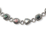 Pink, Black and White Mother of Pearl Bracelet in Sterling Silver (7.75 Inches)
