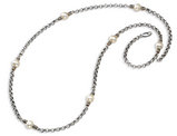 32 Inch White Pearl Necklace in Sterling Silver (.925) with 14K Yellow Gold Accents
