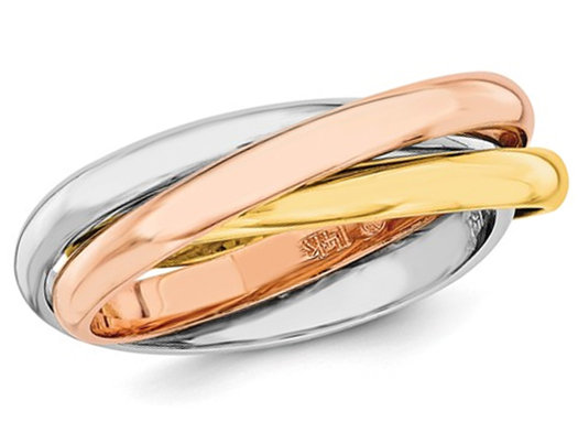 Ladies Tri-Color Yellow, Pink and White Interlocking 14K Gold Ring