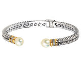 Cultured Freshwater Pearl Cable Bangle in Sterling Silver with 14K Gold Accents