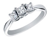 1/2 Carat (ctw H-I, I1-I2) Princess Cut Diamond Engagement Ring and Three Stone Anniversary Ring in 14K White Gold