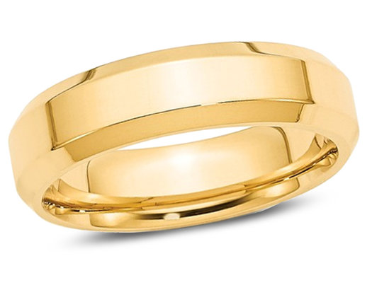 Men's 14K Yellow Gold 6mm Wedding Band with Bevel Edge