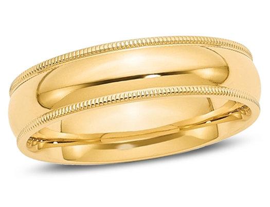 Men's 14K Yellow Gold 6mm Milgrain Comfort Fit Wedding Band