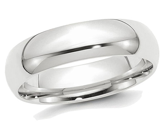 Mens Platinum Comfort Fit 6mm Wedding Band