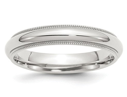 Ladies or Men's Comfort Fit 4mm Milgrain Wedding Band in Sterling Silver