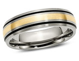Men's 6mm Antiqued Titanium Wedding Band with 14K Gold Inlay
