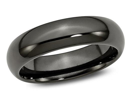 Men's 6mm Black Plated Titanium Wedding Band