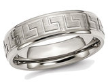 Men's Greek Key 6mm Titanium Satin-Polished Wedding Band