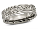 Men's Chisel Titanium Laser Etched Celtic Knot Polished Band Ring