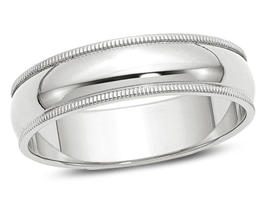 Men's 14K White Gold 6mm Milgrain Wedding Band