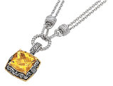 Citrine and Diamond Necklace 10.00 Carat (ctw) in Sterling Silver