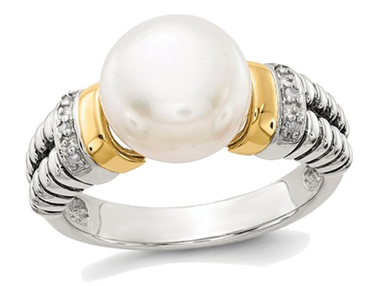 Cultured Freshwater Pearl & Diamond Ring in Sterling Silver with 14K Gold Accents