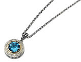 Blue Topaz Solitaire Pendant Necklace 4.92 Carat (ctw) in Sterling Silver with 14K Gold Accents
