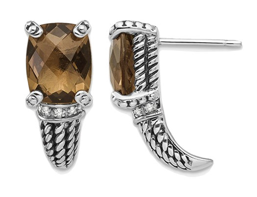 5.00 Carat (ctw) Smokey Quartz Earrings in Sterling Silver with 14K Gold Accents