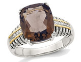 4.50 Carat (ctw) Smokey Quartz Ring in Sterling Silver with 14K Gold Accents and Accent Diamonds