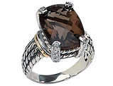 11.16 Carat (ctw) Smokey Quartz & Diamond Ring in Sterling Silver with 14K Gold Accents