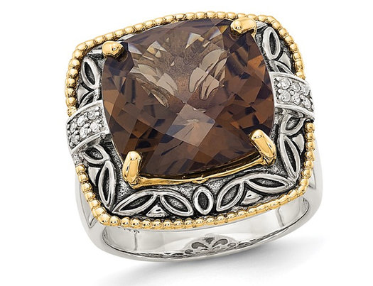 9.00 Carat (ctw) Smokery Quartz Ring in Sterling Silver with 14K Gold Accents