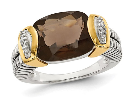 4.50 Carat (ctw) Smokey Quartz Ring in Sterling Silver with 14K Gold Accents