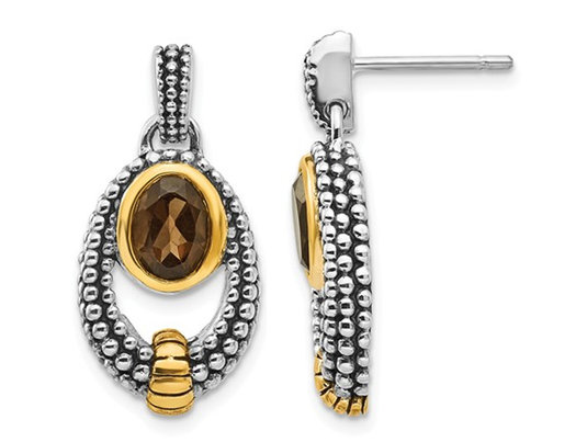 1.50 Carat (ctw) Smokey Quartz Drop Earrings in Sterling Silver with 14K Gold Accents