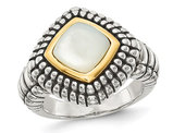 White Mother of Pearl Ring in Sterling Silver with 14K Gold Accents