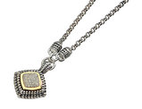 1/5 Carat (ctw) Diamond Square Necklace in Sterling Silver with 14K Gold Accents