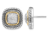 1/5 Carat (ctw) Diamond Pave Solitaire Earrings in Sterling Silver with 14K Gold Accents