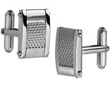 Men's Chisel Stainless Steel Grey Carbon Fiber Rectangle Cuff Links