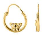 Baby Sleeper Butterfly Hoop Earrings in 14K Yellow Gold