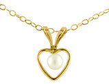 Junior Cultured Pearl Heart Pendant Necklace in 14K Yellow Gold with Chain