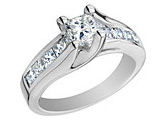 1/2 Carat (ctw I-J , I1-I2) Princess Cut Diamond Engagement Ring in 14K White Gold