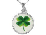 Four Leaf Clover Charm Pendant Necklace In Sterling Silver with Chain