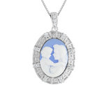 A Mother's Love Cameo with Synthetic Cubic Zirconia in Sterling Silver with Chain