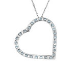 Accent Diamond Floating Heart Pendant Necklace in 14K White Gold with Chain