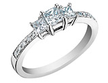 14K White Gold Princess Cut Diamond Engagement Ring and Three Stone Anniversary Ring 1/3 Carat (ctw H-I, I1-I2)