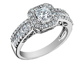 1.25 Carat (ctw) Princess Cut Diamond Engagement Ring in 14K White Gold (Certified)