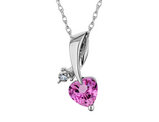 Created Pink Sapphire Heart Pendant Necklace with Diamond in Sterling Silver with Chain