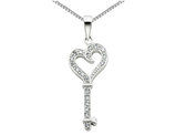 Synthetic Cubic Zirconia Heart and Key Pendant Necklace in Sterling Silver with Chain