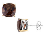 7.69 Carats (ctw) Smokey Quartz Earrings in Sterling Silver with 14K Accents