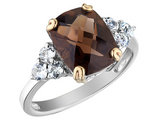 Smokey Quartz and Created Synthetic White Topaz Ring 3.00 Carats (ctw) in Sterling Silver
