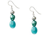 Cultured Freshwater Pearl and Turquoise Earrings in Sterling Silver