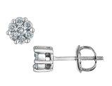 Diamond Stud Cluster Earrings 1/4 Carat (ctw) in 10K White Gold