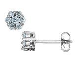 Diamond Stud Cluster Earrings 1/2 Carat (ctw I2-I3) in 10K White Gold