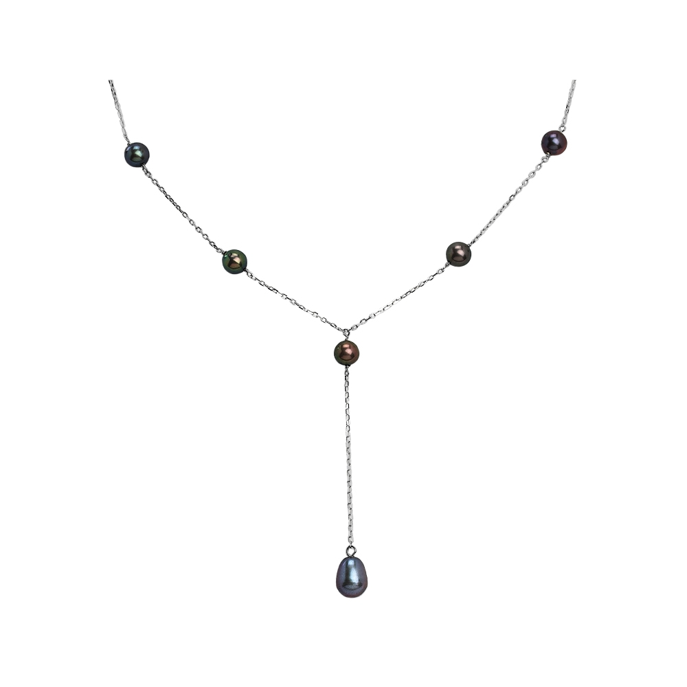Lariat necklace in oxidized black with a watermelon crystal and little pewter hummingbird including silver lariat components